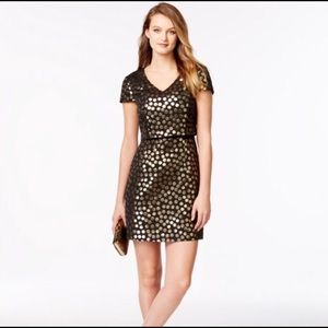 Kensie Black And Gold Polka Dot Dress